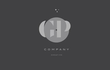 gp g p  grey modern alphabet company letter logo icon