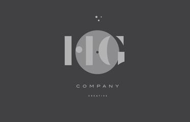 hg h g  grey modern alphabet company letter logo icon
