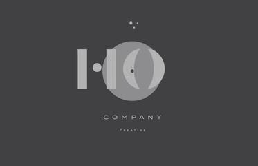 ho h o  grey modern alphabet company letter logo icon