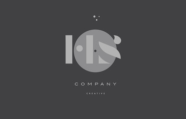 hs h s  grey modern alphabet company letter logo icon