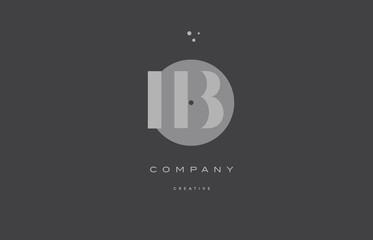 ib i b  grey modern alphabet company letter logo icon