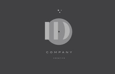 id i d  grey modern alphabet company letter logo icon