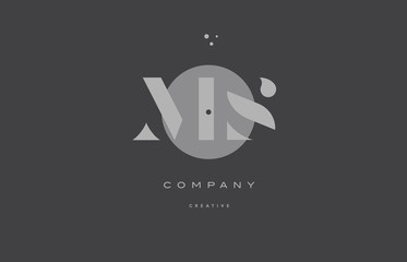 ms m s  grey modern alphabet company letter logo icon