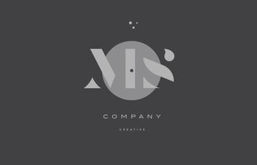 ms m s  grey modern alphabet company letter logo icon