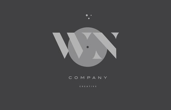 wn w n  grey modern alphabet company letter logo icon