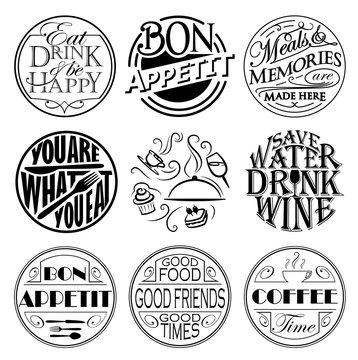 Set of round gastro signs