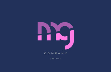 Fototapeta mg m g  pink blue alphabet letter logo icon obraz