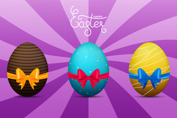 Easter eggs. Glossy eggs with gift bow and ribbon