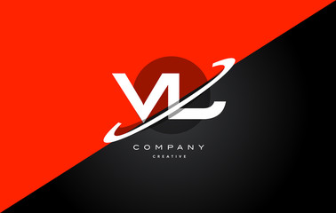 vl v l  red black technology alphabet company letter logo icon