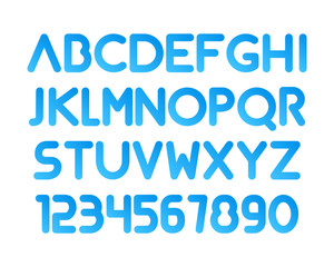 Font. Modern rounded typeface. Letetrs and numbers isolated