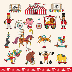 set of hand-drawn vector icons on a circus theme.