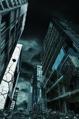 Cinematic Portrayal of Destroyed City Vertical Orientation