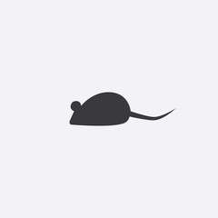 black silhouette of a mouse. Vector illustration