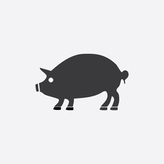 black silhouette of a pig. Vector illustration