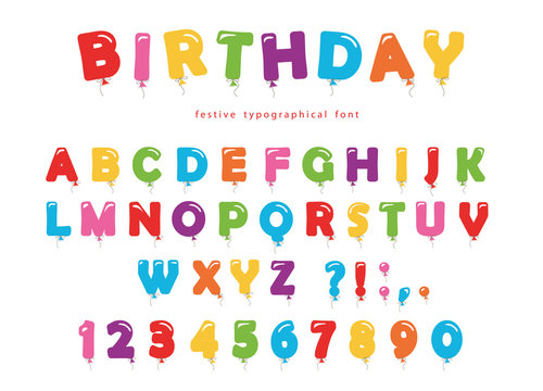 Birthday balloon font. Festive ABC letters and numbers. Colored.