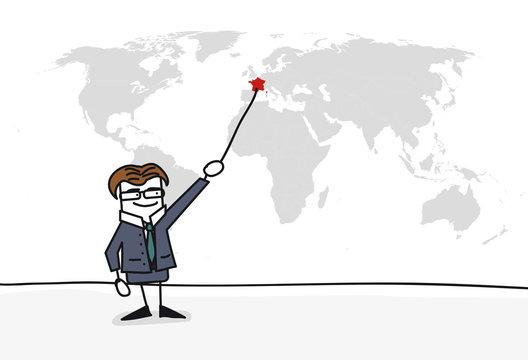 Personnage qui présente la carte du monde : France