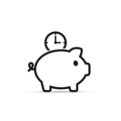 Time is money piggy bank icon. Save time vector illustration.