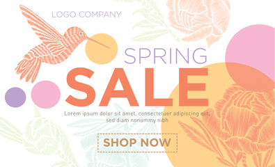 Spring sale. Vector banner with flowers and hummingbirds. Template for advertising on the Internet, posters, posters, banners, leaflets