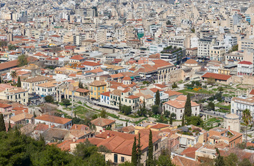 View of ancient Roman market and monastiraki