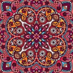 Vector paisley vintage oriental kerchief, pillow, blanket design. Arabic, Indian, Moroccan, turkish mystic ottoman motifs