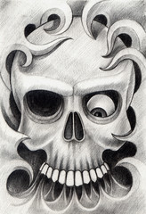Art skull tattoo. Design skull mix graphic and tribal for tattoo hand drawing on paper.