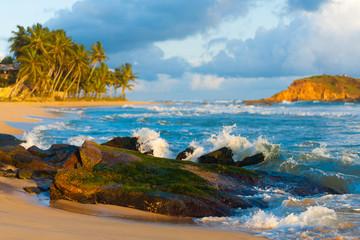 Mirissa Beach Waves Breaking Rock Island Tropical
