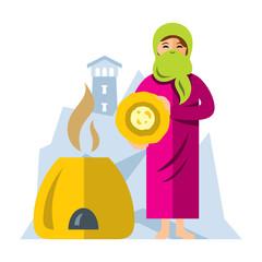 Vector Muslim Arab woman baking bread. Flat style colorful Cartoon illustration.