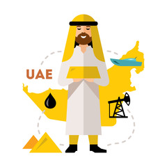 Vector Arab Oil Industry. Flat style colorful Cartoon illustration.