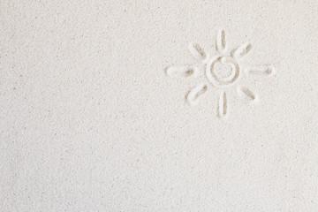 The sun is drawn on the beach