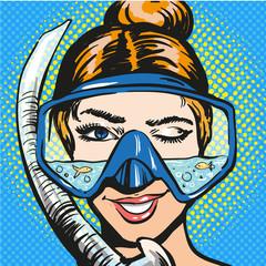 Vector pop art illustration of woman in scuba diving equipment