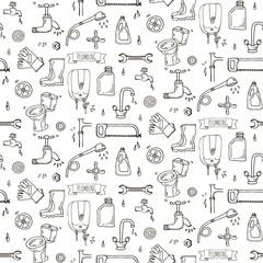 Seamless pattern Hand drawn doodle Plumbing icons set. Vector illustration. Plumber repair tools collection. Cartoon water pipe sketch elements: sink, tube, drain, washing machine, splash, drops, leak