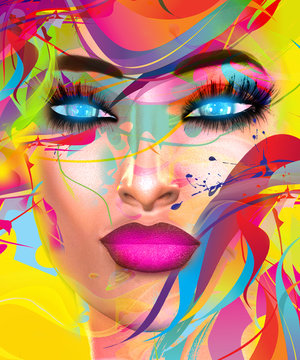 Colorful pop art image of a woman's face. This is a digital art image of a close up woman's face in pop art style. A modern, abstract, punk look that's sexy and confident.