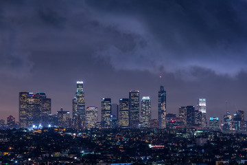 Downtown Los Angeles Night Skyline With Clouds