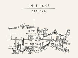 Village market on Inle lake, Myanmar. Rural Burmese landscape with a Buddhist temple. Artistic travel postcard