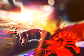 background blurred bokeh.drive a carSpeed .drive a car