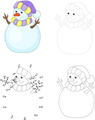 Cartoon snowman. Dot to dot game for kids
