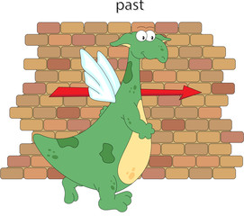 Cartoon dragon goes past the brick wall. English grammar in pictures