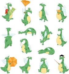 Funny cartoon dragon set