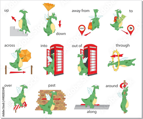 Cartoon Dragon Prepositions Of Movement English Grammar In Pictures