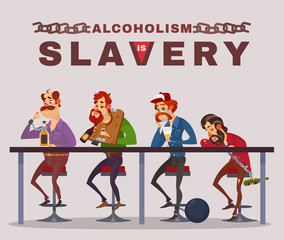 Vector cartoon illustration of men with alcohol addiction, metaphor