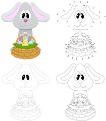 Cartoon easter bunny with basket of eggs. Dot to dot game for kids