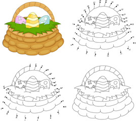 Cartoon basket with Easter eggs. Coloring book and dot to dot game for kids