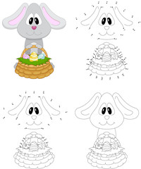 Cartoon easter bunny with basket of eggs. Coloring book and dot to dot game for kids