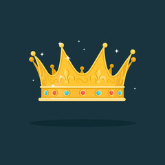 Royal gold crown for queen, princess, king isolated on dark background. Awards for winner, champions, leadership concept. Vector elements for logo, label, game, hotel, an app design.