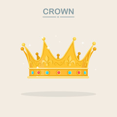 Royal gold crown for queen, princess, king. Awards for winner, champions, leadership concept. Vector isolated elements for logo, label, game, hotel, an app design.