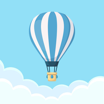Hot air balloon in the sky with clouds. Flat cartoon design. Vector illustration