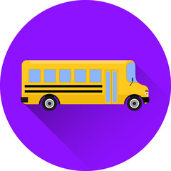 School bus icon in flat design with long shadow on purple background. Vector illustration. Transport concept.
