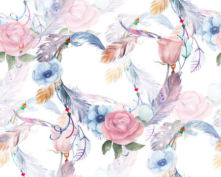 Watercolor floral seamless pattern with hearts, feathers