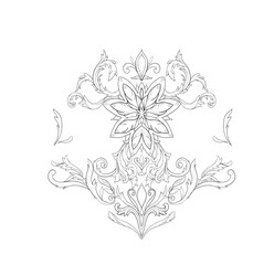 Graphic sketch of lotuses in ornament on a white background.