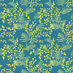 Watercolor mimosa vector pattern
